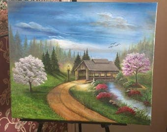 Original Printed Canvas Art, Spring in the Mountains by Susie Keck