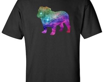 Galaxy Colorful Print Bulldog Silhouette Logo Graphic T Shirt