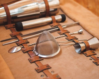 leather roll bag\ bartender bag\ bartender leather bag\ Bartender gift\ Tool Roll\ Birthday