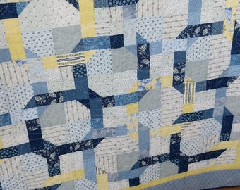 Handmade Pieced Patchwork Cotton Blue Navy Yellow White Twin Throw Lap Robe Quilt
