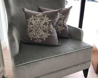 Ankasa Accent Pillow with Metallic Snowflake Detail