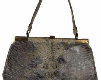 Rare python bag reptile bag vintage years 50 reptile python python leather hand bag reptile serpens sac