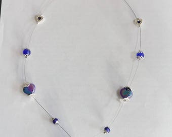 Necklace made of ceramic and glass Blue Navy nickel and lead free