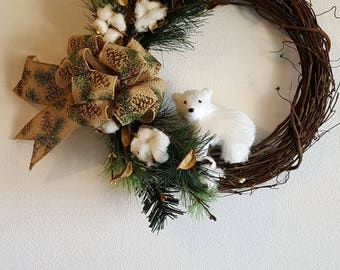 Bear Cub Cotton Grapevine Wreath