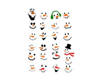 Snowman Faces SVG, DXF, Face Snowman Clipart, Snowman svg, Snowman, Snowman png, Snowman clipart, Snowman Stencil, Snowman Vector File