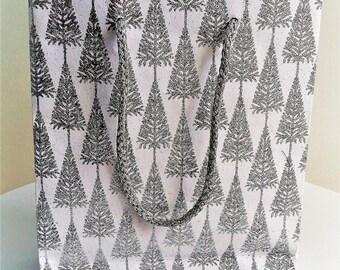 Silver, glitter tree gift bag