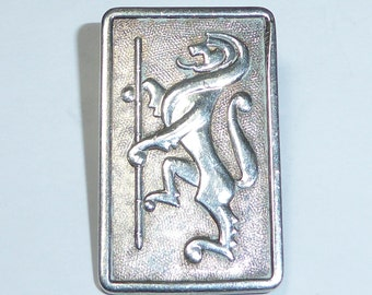 "Sterling Silver Lion Brooch Pin Pendant Birmingham Hallmarked Celtic Scottish 1.25""X0.5"" Fob Vintage"