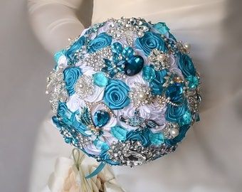 Turquoise Wedding Bouquet Brooch Bouquet White Silver Wedding Bouquet Aqua Blue Bouquet Bridal Bouquet Bling Bouquet Luxury Unique Bouquet