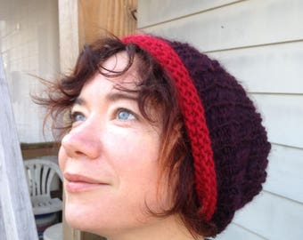 Supersoft Hand-Knit Perfect Beanie in Purple