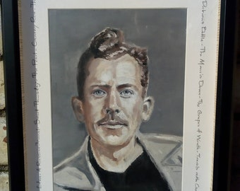Stunning Original Oil Portrait Painting of JOHN STEINBECK Custom Made Favourite AUTHOR Customised Frame