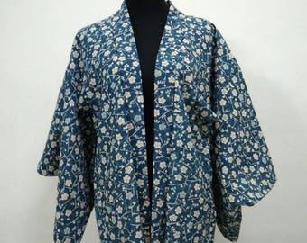 Japanese haori kimono blue floral kimono jacket /kimono cardigan/vintage kimono robe/#030