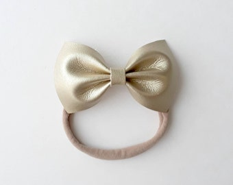 Gold Faux Leather Bow (Headband)