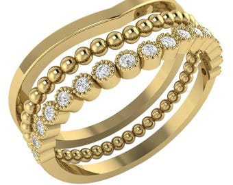 SALE 3 x Stackable Wedding Band .25ct Diamond, Beaded, Milgrain /Anniverary/Engagement Ring Available in 14k White, Yellow or Rose Gold