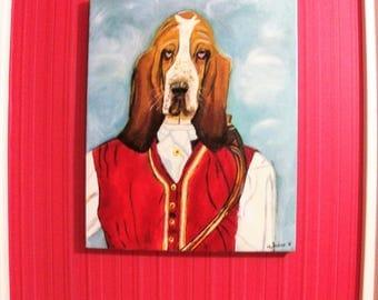 Basset Hound oil painting