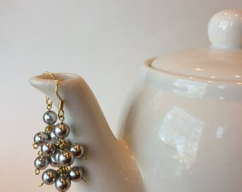 Pearl Tiered Cluster Earrings, modern classic jewelry, bridesmaid gift