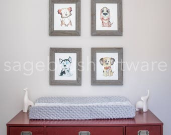 Puppy Nursery Art - Personalized Baby Art Gift -  Puppy Prints - Children's Art - Girls Room Decor, Boys Room Wall Art - Watercolor Prints