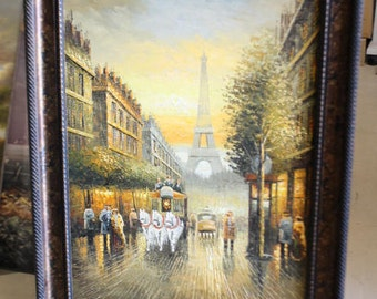 framed Eiffel tower Paris street hand painted oil painting
