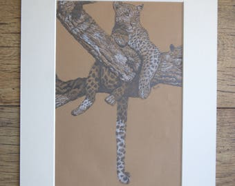 LEOPARD original pastel drawing by Tracey Bryant