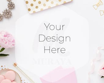 Styled Desk Scene, Feminine workplace, Styled Photography, Social Branding, Styled Desktop, Gold Pink, Peonies, Stationary
