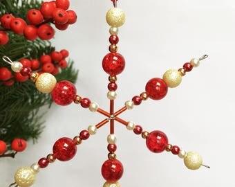 Beaded Snowflake Christmas Decoration (Reds)