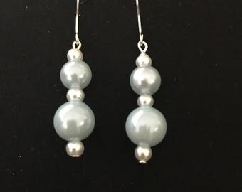 Blue pearl drop earrings