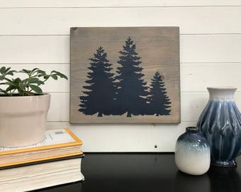 Three trees rustic handmade cabin stained wooden sign
