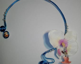 """wedding necklace """"Rosina"""" made with wire wheels, a beautiful orchid textile beads."""