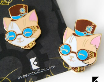 Steam Punk Cat Hard Enamel Pin Cute Gold Black Nickel Animal