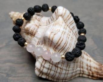 Rose Quartz and Crystal Quartz bracelet, Lava Rock Bracelet, Mala Bracelet, Stretch Bracelet, Meditation Bracelet, Healing Jewelry