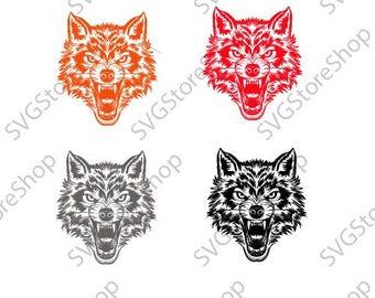 Fierce Wolf Face svg - Fierce Wolf Face svg files - Fierce Wolf Face clipart - Fierce Wolf Face digital- files download svg, png, eps, jpg