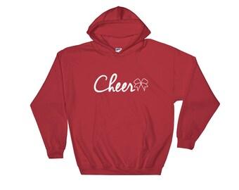 Cheer Bow Hooded Sweatshirt, cheerleader, cheerleading, cheer sweatshirt, cheer hoodie, sweatshirt, hoodie, cheer, clothing, clothing, shirt