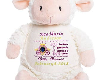 Lamb baby gift etsy cubbies personalized stuffed animals customized lamb personalized baby gift birth announcement baby negle Image collections