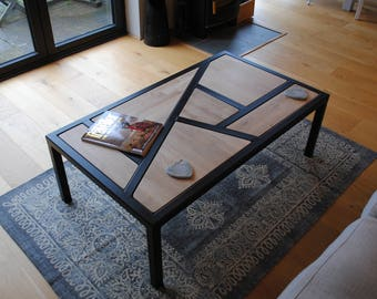Geometric Coffee Table, Metal and Reclaimed Oak Worktops