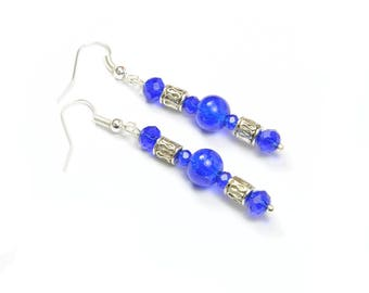 Earrings blue Czech glass and Crystal beads