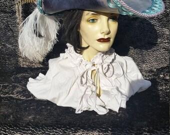 Black/teal kraken leather pirate hat