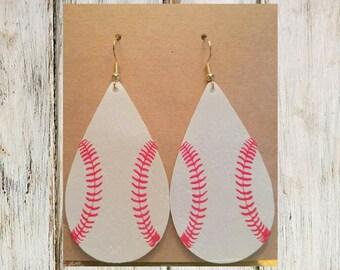 Baseball Leatherette Tear Drop Earrings