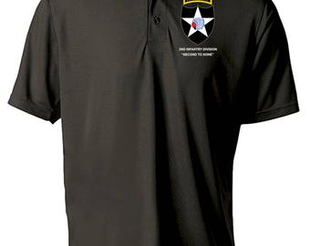 2nd Infantry Division w/ Ranger Tab Embroidered Moisture Wick Polo Shirt -3078