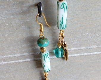 Green porcelain earring