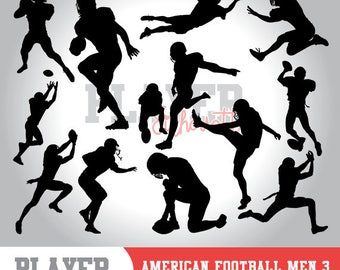 Football Player SVG, american football silhouette,printable clipart,svg cut file and editable,studio & cricut,vector digital clipart,A-003
