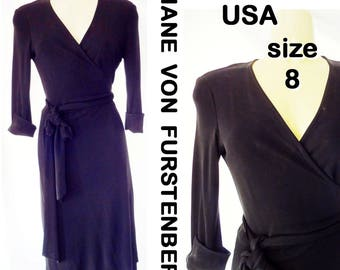 Vintage DIANE von FURSTENBERG Dress Black Rayon Jersey Wrap-Around Made in USA Sz 8