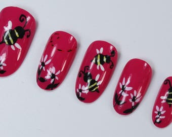 10 Colourful Bees and Daisy Flower Nails, Press On Nails, Glue on Nails, Full Coverage Nails