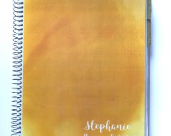 Personalized Planner -NEW LARGER SIZE - With page markers, shopping list, sealable folder and a double page spread per w
