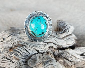 Turquoise Stamped Shield Ring