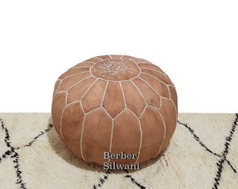 Pair (2) Stunning Tan Moroccan Leather Pouf, Moroccan Pouf Ottoman Footstool Poof Poufs