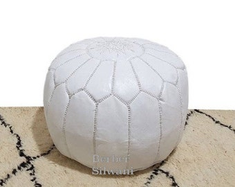 White Moroccan Leather Pouf, Moroccan Pouf Ottoman Footstool Poof Poufs