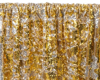 12 FT. Gold Silver Sequin Backdrop Photo Booth Back Drop Sparkly Background Prop Wedding Event Birthday Anniversary Mermaid Flip Reversible