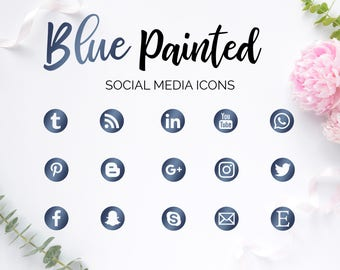 Social Media Icons, Gold Blue Icons, Metal Blue Icons, Social Media Buttons, Blue Buttons, Social Icons, Blog Icons, Website Icons, Branding