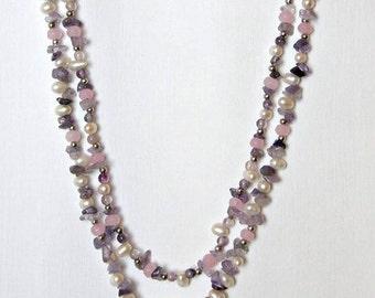Purple amethyst pearl necklace