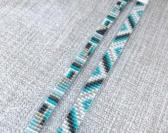 Set of Two Turquoise Miyuki Bracelet / Beaded Bracelet / Miyuki Beads / Miyuki Bead Bracelet / Chevron / Turquoise and Grey / Miyuki Delica