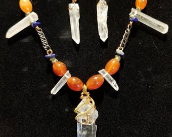 Quartz crystal, carnelian, lapis necklace and matching earrings SET